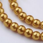 Glass Pearl Beads Gold 6mm